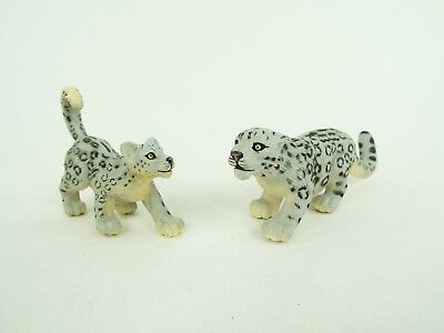 Safari LTD Snow Leopard Mother & Cub Adult & Baby Wild Cats Figure Lot