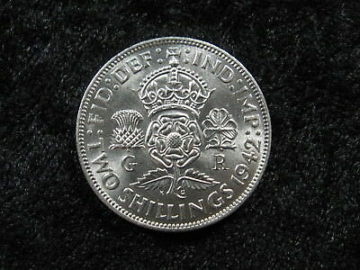 1 old world SILVER coin GREAT BRITAIN 2 shillings florin 1942 KM855 FREE S&H