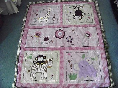 """Geenny Baby Quilt Pink-Rose Zoo Animals 39"""" X 47"""" Approx Adorable Free Shipping"""