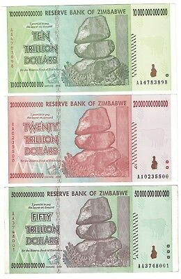 Zimbabwe 10 20 50 Trillion dollars 3-note Set AA 2008 authentic FREE SHIPPING