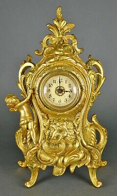 Fine Antique French Gold Ormolu Kissing Cherubs Rococo Style Shelf Mantle Clock
