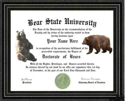 Bear Lover's  Diploma / Degree Custom made and Personalized for you