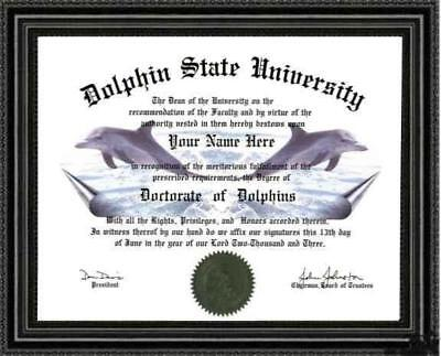 Dolphin Lover's  Diploma / Degree Custom made and Personalized for you