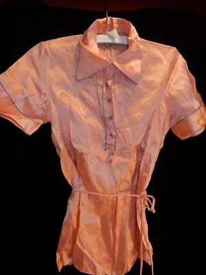 Vintage Ladies Pink & Blue Satin 1930S Blouse Or Lingerie Top Nos 16