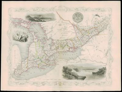 "1850 Original Illustrated Antique Map of ""WEST CANADA""  by Tallis (62d)"