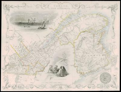 "1850 Illustrated Antique Map of ""EAST CANADA & NEW BRUNSWICK""  by Tallis (59d)"