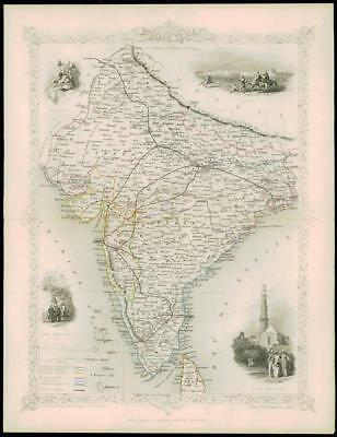 "1850 ""BRITISH INDIA"" Original Antique Map by Tallis DELHI LAHORE"
