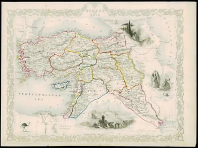 "1850 Original Illustrated Antique Map ""TURKEY IN ASIA"" by Tallis (202d)"