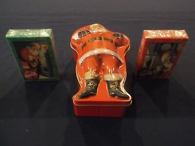 Coca Cola Santa Tin With 2 Packs Of Sealed Playing Cards