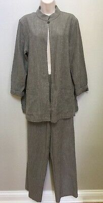Women's Eileen Fisher Gray Pant Suit Wide Leg Pants Career Cotton Rayon Small