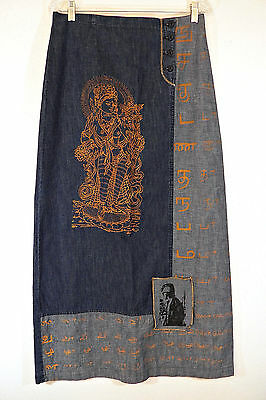 French Denim MAXI SKIRT US 6-8 Hindu Goddess-Punk Rocker-Festival Vintage