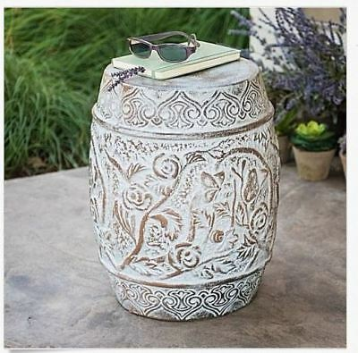 Garden Stool Outdoor Ceramic Decor Accent Stand Table Rustic Vintage Porch  Side