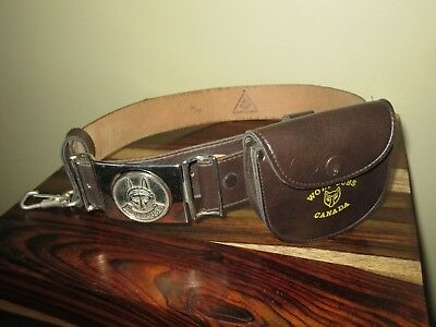 Vintage Boy Scouts Wolf Cubs Canada Complete Belt with Buckle, Belt, Pouch, Key