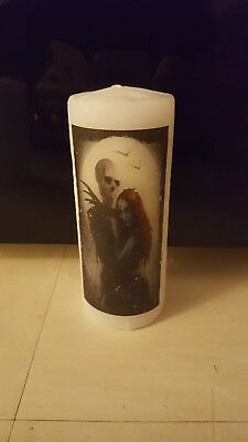 nightmare before Christmas. jack and sally. tim burton pillar  candle