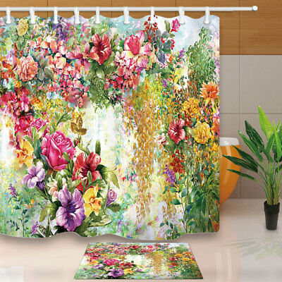 Abstract flowers watercolor painting Shower Curtain Bathroom Fabric /& 12hooks