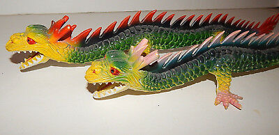 """Lot of 2 Vintage IMPERIAL Chinese Dragons 1979 Made in China 17"""" Plastic"""