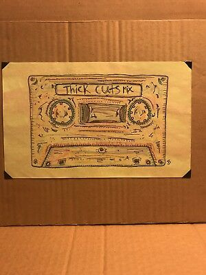 original watercolor painting signed cassette Just Buzzin comic art music 90s