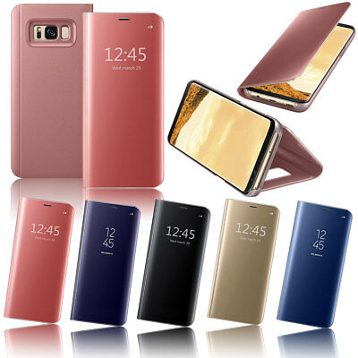 For Samsung Galaxy S6 Plus S6 S7 Edge Touch Mirror View Magnetic Flip Stand Case
