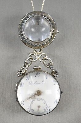 Antique GORHAM Sterling Silver Pools of Light Pocket Watch Necklace Pendant Pin