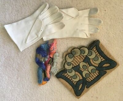Antique Lot - Various Threads and Art Nouveaux Art Deco Cloth and Women's Gloves