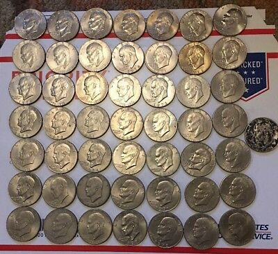 Lot Of 50 Ike Dollars Some Uncirculated!!