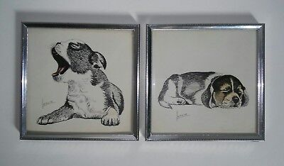 Vintage Leslie STAPCO NY Litho USA Boston Terrier & Beagle Framed Lithographs