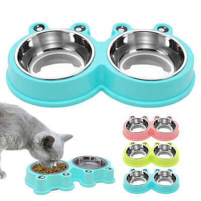 Dog Double Bowl Stainless Steel Puppy Cat Feeder Pet Food Water Dish Anti Slip