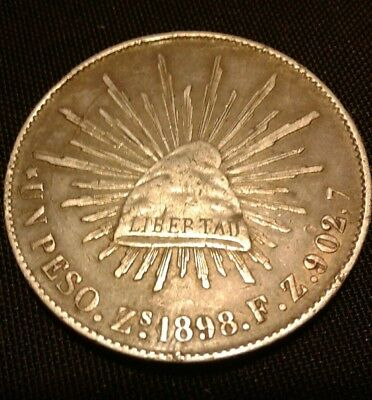 1898 Zs F.Z. Republic of Mexico Silver 8 reales coin.
