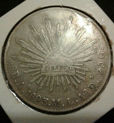 1893 As M.L. Republic of Mexico Silver 8 reales coin.