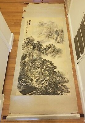 Chinese/Japanese? Antique Calligraphy Mountain Scroll Painting Watercolor Seal