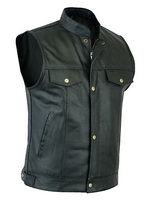 Men Sons of Anarchy gun pocket US Style Leather Waistcoat - Cut off Style