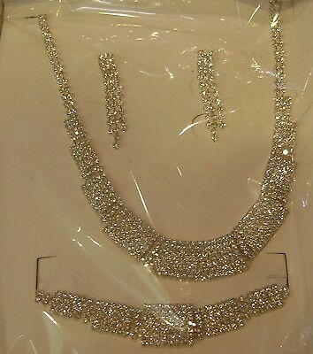 Set Of Necklace Bracelet Earrings White Austrian Crystals - Very Limited