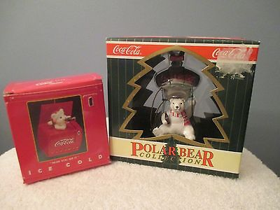 """2 Coca-Cola Ornaments """"Now You See It and Polar Bear"""""""