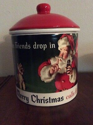 Coca-Cola Coke Santa Dip With Lid Chill Christmas Red Canister Art