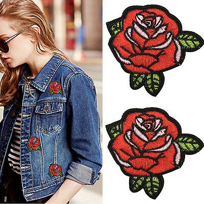 2x Red Rose Flower Embroidery Applique Cloth Sewing & Iron on Patch Badge Pop