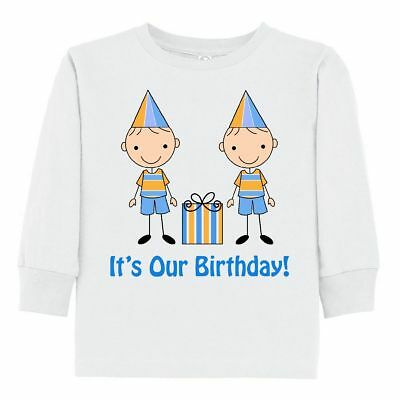 Inktastic Twin Boys Birthday Gift Toddler Long Sleeve T-Shirt Twins Happy Stick