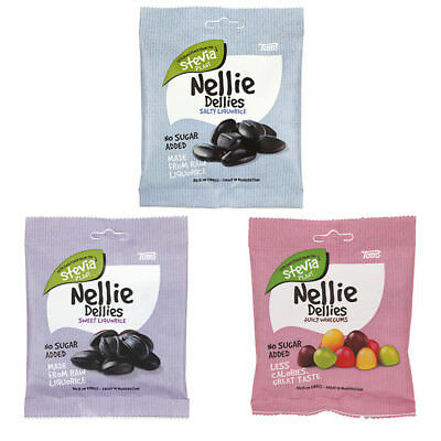 Toms Nellie Dellies Sugar Free Stevia Candy 90 gram Licorice and Wine Gum
