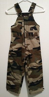 Walls Tough Wear Insulated Camouflage Overalls Bibs Kids Grow System Youth Sz S