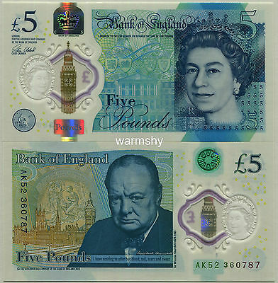 Great Britain UK England 2016 Polymer Banknotes 5 Pounds UNC