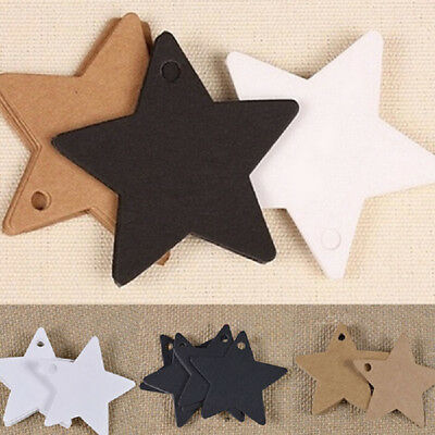 100pcs Star Shape DIY Kraft Paper Tag Hang Tag Note Cards Shop Price Tags