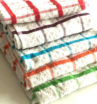 PACK 100% COTTON RED BLUE BLACK GREEN CHECK JUMBO TERRY T TOWELS 75x20cms