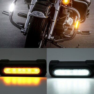 """Motorcycle Highway Bar Switchback Driving Lights DRL Turnsignal fits 1.25"""" Bars"""