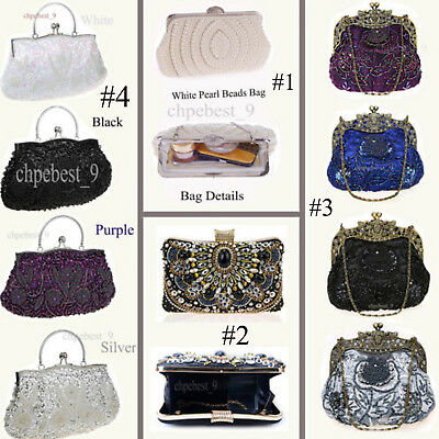 Sequins Pearl Beaded Handmade Bags Party Wedding Evening Clutch Womens Handbags