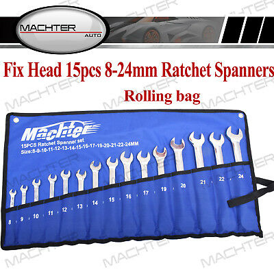 8-24mm Metric Ratchet Spanners Fixed Head Open End Ring Silver Steel Geared 15pc
