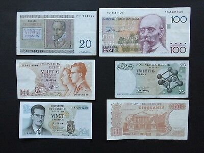 6 Banknotes From Belgium