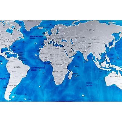 Ocean Sea Scratch Off World Map Poster Personalised Travel Log Gift Size 59*82cm