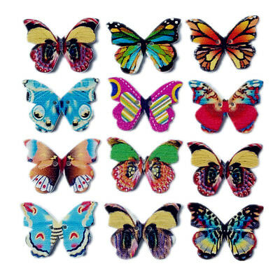 Mix Lots Butterfly Flower Wood Button Cloth Sewing Diy Craft Embelishment