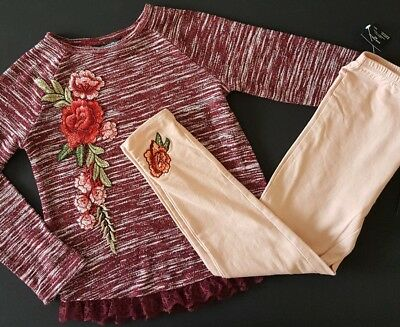 New BEBE GIRLS 2-Piece Spring Outfit Size 6X Burgundy Blouse Shirt Top Leggings