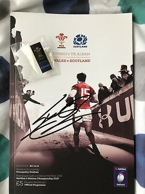 Leigh Halfpenny signed programme & pin badge - Wales v Scotland 2018
