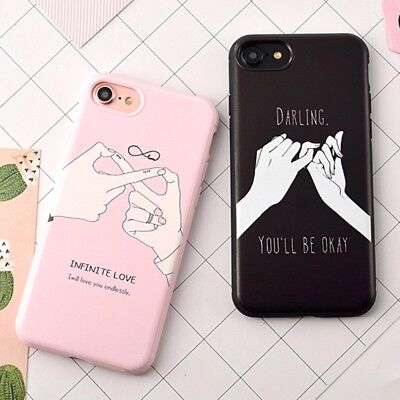 Pink Black Hand Link Romance Line Art Tumblr Darling Soft Phone Case For iPhone